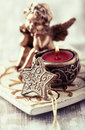 Old fashion christmas decor with a tea light shallow dof Stock Photography