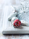 Old fashion christmas ornaments on shabby chic background close up Stock Images