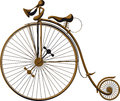 Old fashioned bicycle grungy with a large front wheel Stock Images