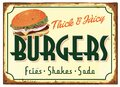 Old Fashioned Burgers and Fries Sign Tin Retro Royalty Free Stock Photo