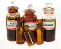 Old fashioned chemical bottles Stock Images