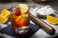 Old Fashioned Cocktail on a Tray with Ingredients Royalty Free Stock Photo