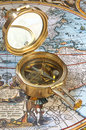 Old-fashioned compass Stock Images