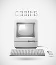 Old fashioned computer with word coding Royalty Free Stock Photo