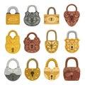 Old fashioned door locks flat vector illustrations set