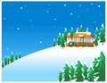Old fashioned house snowy winter scene in the countryside with Royalty Free Stock Photo