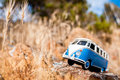Old fashioned miniature van on a countryside road macro photo Royalty Free Stock Photography