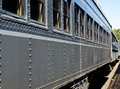 Old fashioned passenger train closeup side view of an Royalty Free Stock Photos