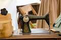 Old fashioned singer sewing machine an is on display at the jackson civil war muster in jackson michigan usa Royalty Free Stock Photos