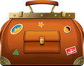 Old-fashioned travel bag (valise) Stock Photo