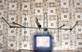 Old fashioned tv set with antenna wallpaper with pattern Royalty Free Stock Photos