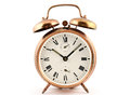 Old-fashioned vintage copper alarm clock Royalty Free Stock Photo