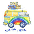 Old-fashioned yellow hippie сamper bus with suitcases, painted in rainbow colors with clouds and flowers.