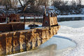 Old ferryboat froze into the ice navigation area on don river in russia Stock Image