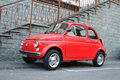 Old fiat parked on the sideway an red is in toirano italy Stock Photography