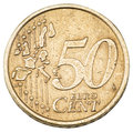 Old fifty cents euro coin. Royalty Free Stock Photo