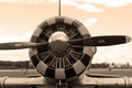 Old fighter plane engine sepia Royalty Free Stock Photo
