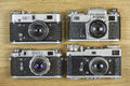 Old film cameras. Royalty Free Stock Photo