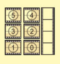 Old film strip countdown Royalty Free Stock Photo