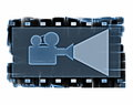Old film strip frame and movie projector isolated Royalty Free Stock Photo