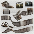 Old film strip with transparency, vector icon set Royalty Free Stock Photo