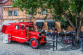 Old fire dept car used for city tours in ystad sweden on august city founded in th century is a place of action of well known Stock Photos