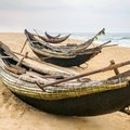 Old fisherman boats on the beach in hue province vietnam Royalty Free Stock Photography
