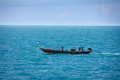 Old fishing boat goes by sea fishermen working thailand Stock Photos