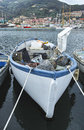Old fishing boat in the harbour of le grazie Stock Image