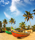 Old fishing boats on beach in india Royalty Free Stock Photo