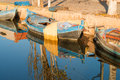 Old fishing boats moored in a canal Royalty Free Stock Photos
