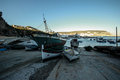 Old fishing boats in the sesimbra pier in portugal Stock Photography