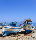 Old fishing boats in sicily the beach northern Stock Photos