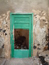 Old flaking green busted door in white wall in fuerteventura canary islands with decaying grey plaster Royalty Free Stock Photos