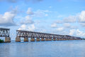 The old Florida East Coast Railway Pratt Truss bridge spanning b Royalty Free Stock Photo