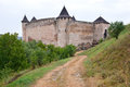 The old footpath khotyn ukraine august view on medieval fortress and road to it Royalty Free Stock Image