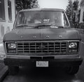 Old ford van black and white image with at parking area Royalty Free Stock Photo