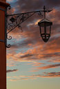 Old forged lantern in opocno castle Stock Photos