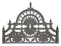 Old forged metallic decorative lattice fence isolated over white Royalty Free Stock Photo