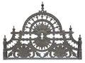 Old forged metallic decorative lattice fence isolated over white