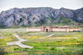 Old fort in kazakhstan near the mountains Royalty Free Stock Photo