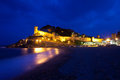 Old fortress on the coast panorama of a at night Royalty Free Stock Image