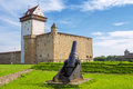 Old fortress narva estonia cannon near hermann castle Royalty Free Stock Photography