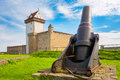 Old fortress narva estonia cannon near hermann castle Stock Photography