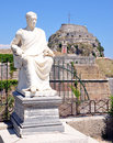 Old fortress and the statue of the town of corfu greece europe fort sculpture by sea Stock Photos