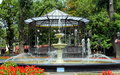 Old fountain and alcove in the garden city Stock Images
