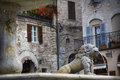 Old fountain in the tuscany town of assisi close up with an italy Royalty Free Stock Image