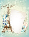 Old frame and eiffel tower vector blue background with Royalty Free Stock Photography