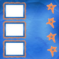 Old frame with orange stars and buttons Royalty Free Stock Photos