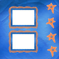 Old frame with orange stars and buttons Stock Photography